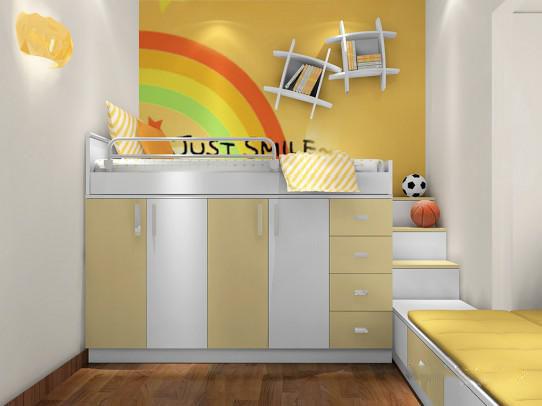 合理的安排上下床之间的关系,是考验设计师的基本要求,儿童房的安全系数了各位家长最担心的问题之一,这款儿童房设计,定制性强,在安全系数上减低了风险,利用户型的凹槽,我们做了柜体的填充,在上层床的设计上,我们满足了孩子的基本需求,还增强了储物,下床的设计,我们利用空间,做了一个功能与休闲结合的区域,便于孩子平时的玩耍与学习。此款设计在舒适度与安全系数上的性价比都有所展现。